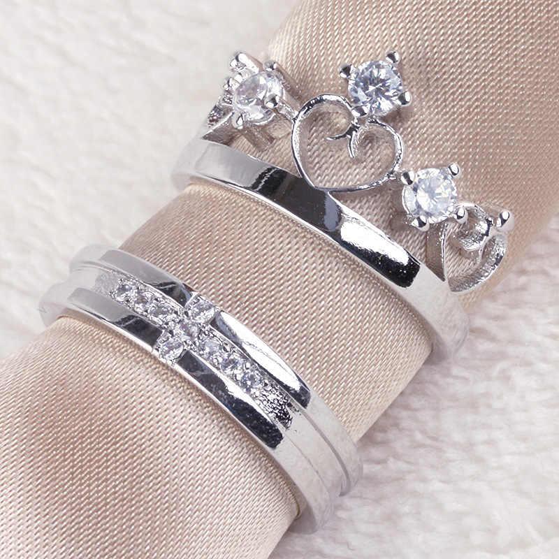 โรแมนติกเงิน-สี 925 Micro-zircon แหวนเครื่องประดับหมั้น Love Crown cross คู่รักคู่รักแหวนสำหรับผู้หญิงผู้ชาย