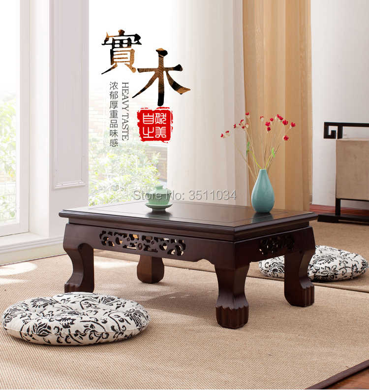 Oak Color Oriental Antique Furniture Design Japanese Floor Tea Table Small Size Living Room Wooden Coffee Tatami Low Table Wood