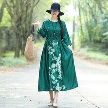 Vintage Ethnic Women Floral Print Cotton Linen Robe Dress Mori Girl Boho Beach Holiday High Waist Loose A-line Dresses Vestidos