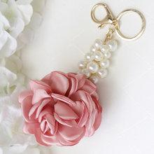 Новая форма розы ткань цветок шар брелок кольцо для ключей женщин