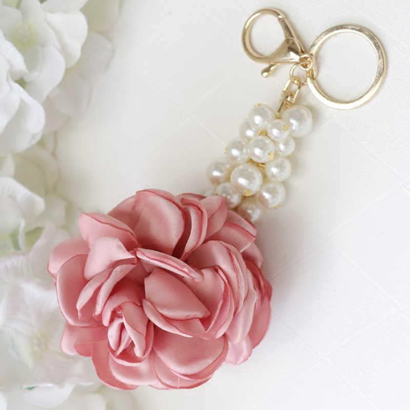 New Rose Forma de Flor de Pano Bola Keychain Saco do Anel Chave para As Mulheres Pérola Jóias Pingente de Carro Presentes Chaveiro Bugiganga EH400