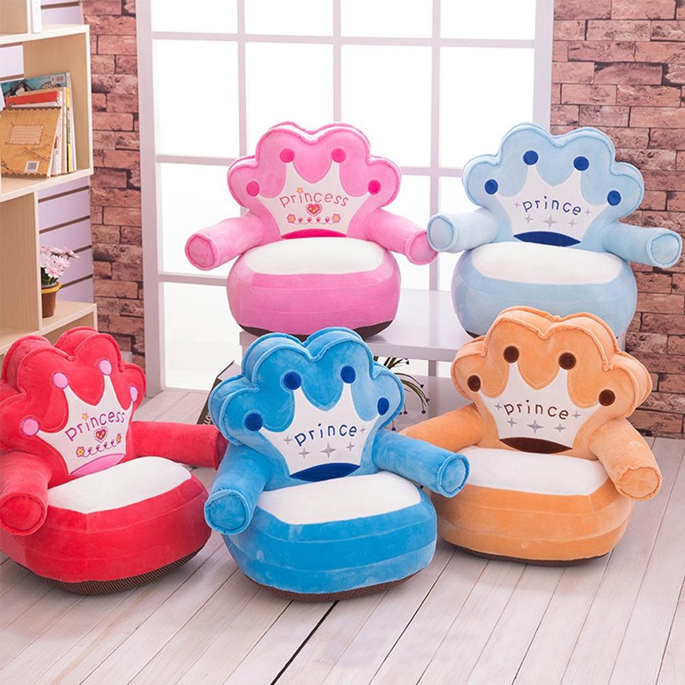 Baby Kids Only Cover NO Filling Cartoon Soft Crown Seat Children Chair Neat Puff Skin Upscale Toddler Children Cheap Cover Sofa