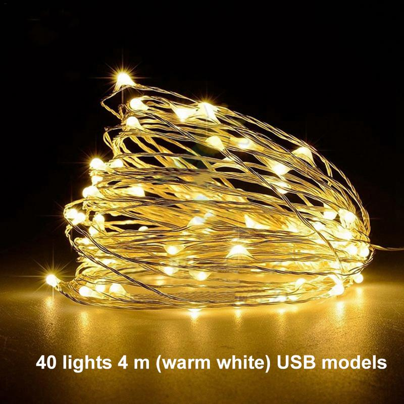 1/2/3/4M 10-40 LEDs Christmas Garland Copper Wire LED String Lamp Fairy Lights For Indoor New Year Xmas Wedding Decoration 40