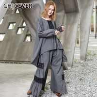 CHICEVER Patchwork Lace Women's Suit Two Piece Set O Neck Asymmetric Hem Tops Female T Shirts Elastic High Waist Trouser Fashion