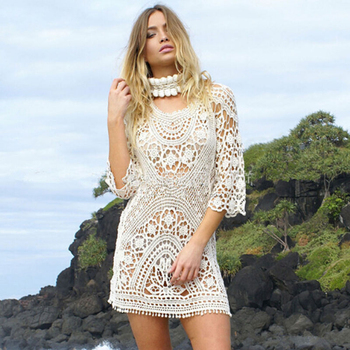 Hot Swimwear Cover Up Women White Lace Tunic Beach Dress Clothing Backless Bathing Suit Crochet Bikini Swimming Beach Wear women dress women beach lace crochet dresses swimwear bikini cover up hollow out beach wear tops ladies dresses sundress