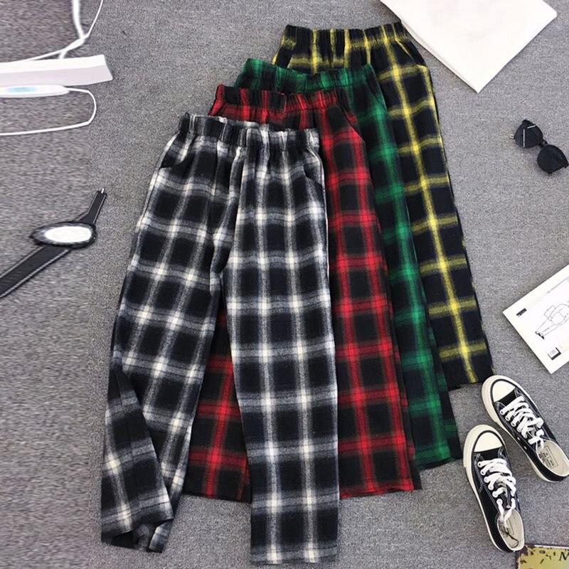Korean Style Harajuku Casual Plus Size Women Pants Hip Hop Streetwear Green Loose Wide Legs Plaid Pocket Female Ol Ladies Pant