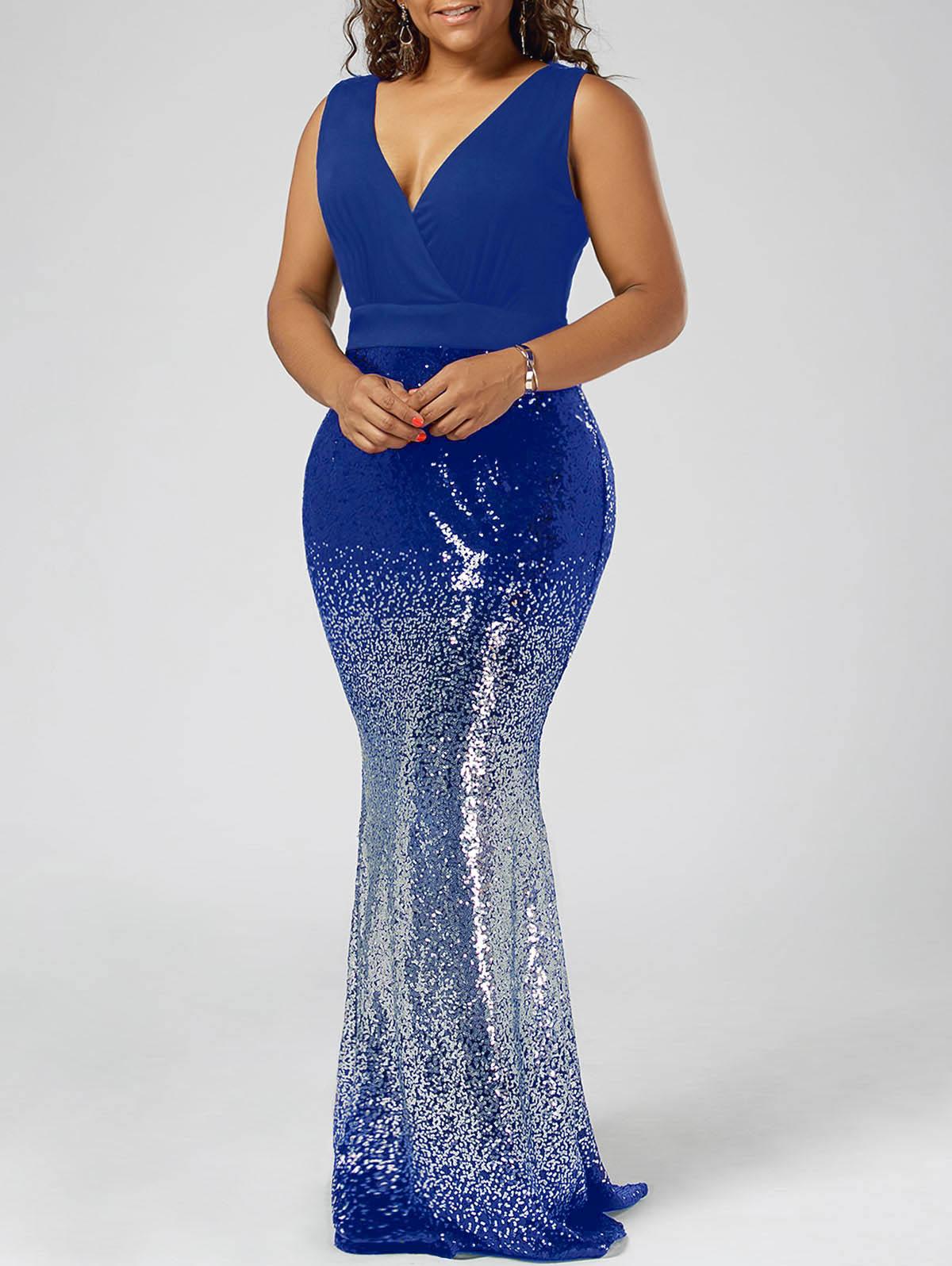 Sovalro Sequins Royal Blue Formal Party Dress Women Plus ...