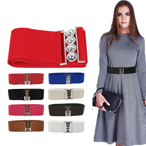 Women Fashion Stretch Buckle Waist   Belt   Wide Elastic Cinch Corset Clubs Party Waistband Girls Ladies   Belt