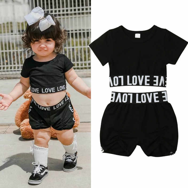 b949abca0 Detail Feedback Questions about 2019 New Toddler Kid Baby Girl Clothes Set  Summer Casual Tracksuit Short Sleeve T Shirt Shorts Pant Black Children Baby  ...