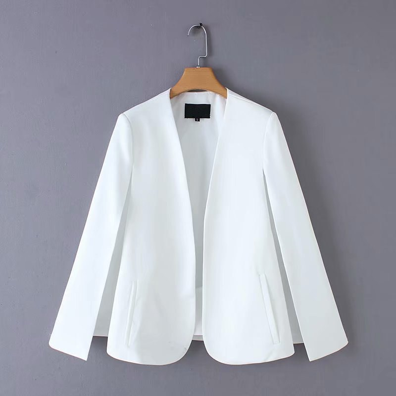 New Arrival Spring Summer V Neck Cloak Thin Coat Black White Simple Split Design Loose Outerwear in Jackets from Women 39 s Clothing