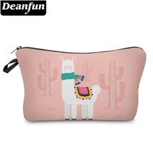Deanfun Waterproof Cute Cactus Llama Cosmetic Bag Roomy Alpaca Makeup Travel Organizer Neceser Gift  51367 #
