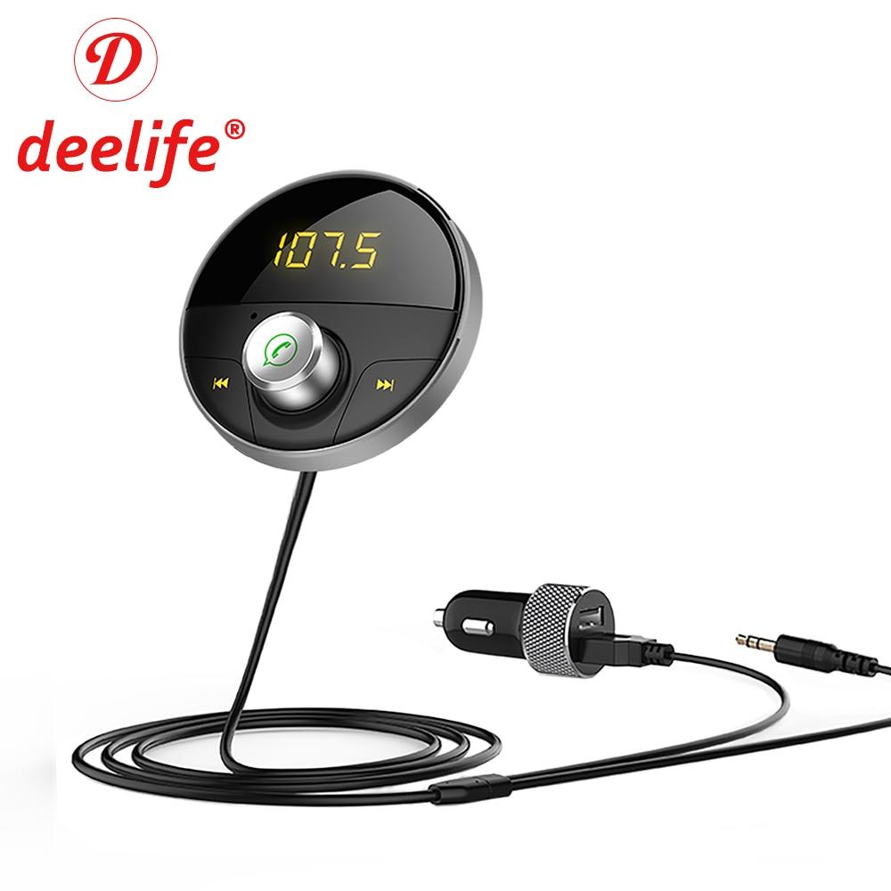 Deelife Bluetooth AUX Handsfree Car Kit 3.5mm Jack Audio MP3 Player Wireless FM Transmitter Auto SpeakerPhone Carkit USB Adapter