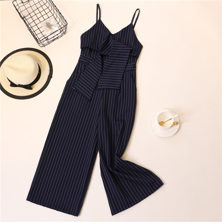 Summer Stripe Camisole Jumpsuit Women V-neck Striped Sexy High Waist Wide Leg Pants Office Ladies Red Black Overall Bodysuit 65