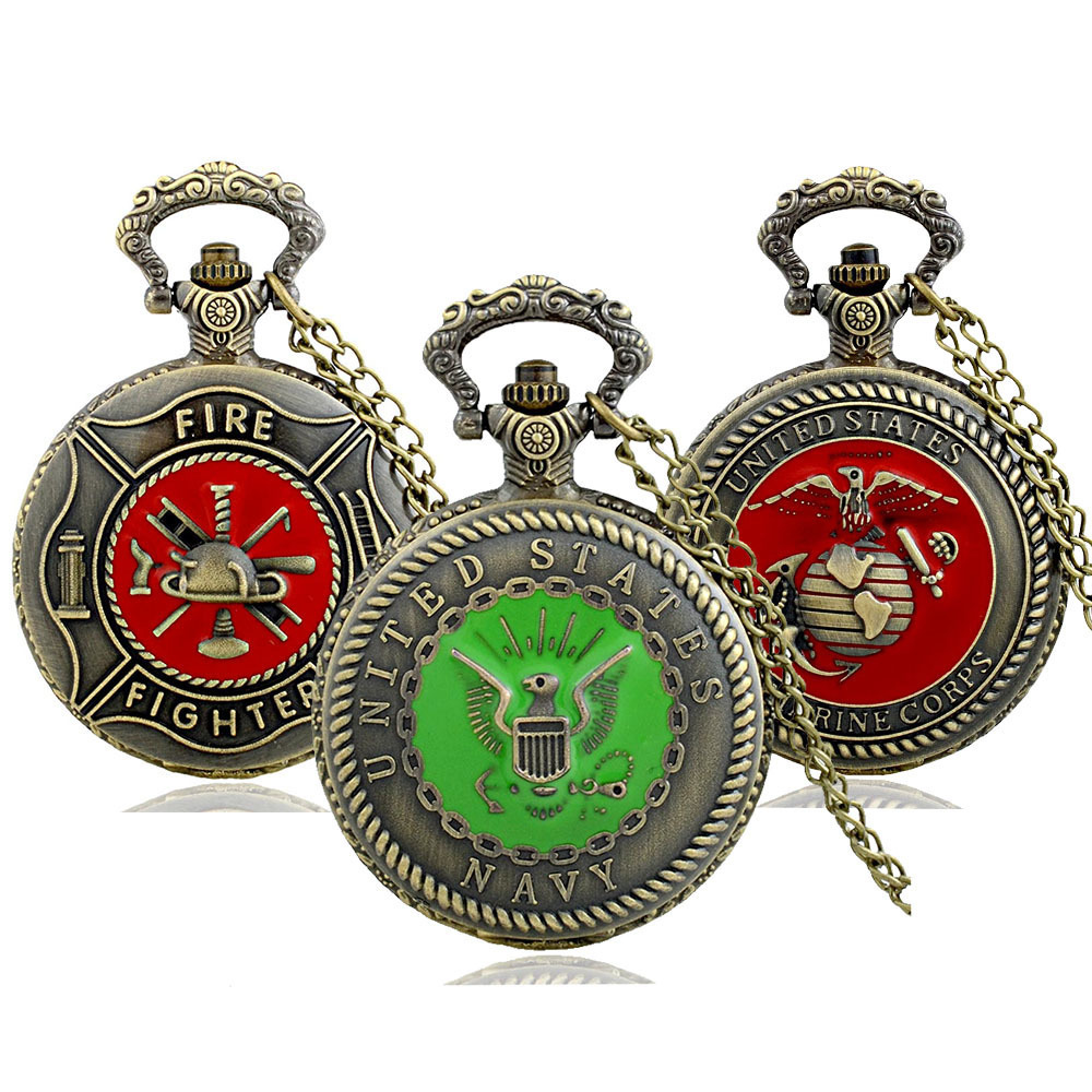 IBEINA Fire Fighter Army USMC Theme Full Hunter Quartz Engraved Fob Retro Pendant Pocket Watch Chain Gift