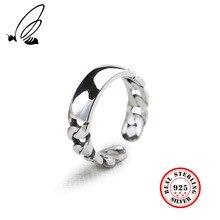 100% 925 Sterling Silver Rings Jewelry Retro Women Chain Resizable Open Rings For Women Sterling Silver Jewelry Accessories Gift 100% 925 sterling silver cross curb chain rings for women punk retro finger ring fashion sterling silver jewelry