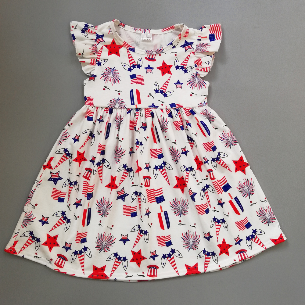 4th of july Summer Dress Baby Boutique Children Star Pattern Girl Dresses Party dress Baby Girl Clothes Holiday Dress LYQ805-1474th of july Summer Dress Baby Boutique Children Star Pattern Girl Dresses Party dress Baby Girl Clothes Holiday Dress LYQ805-147