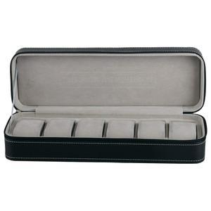 Image 2 - 6 fente boîte de montre Portable voyage fermeture éclair boîtier collecteur stockage bijoux boîte de rangement (noir)