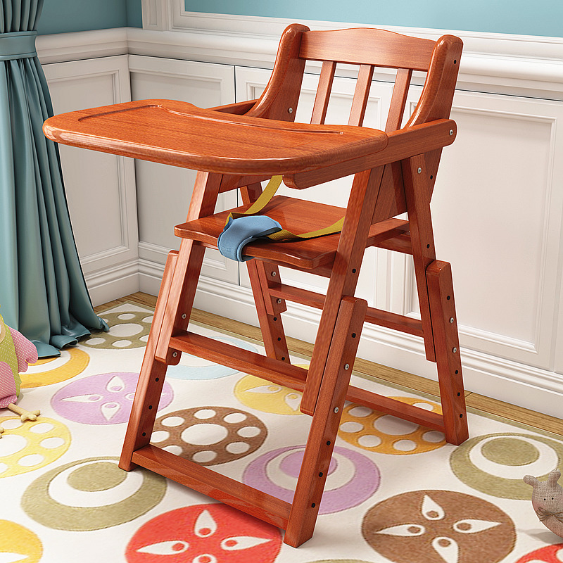 Solid Wood Baby Eat Chair Children Eat Chair -installation Baby Baby Chair Seat Hotel Supplies Bb Tool Folding Chair