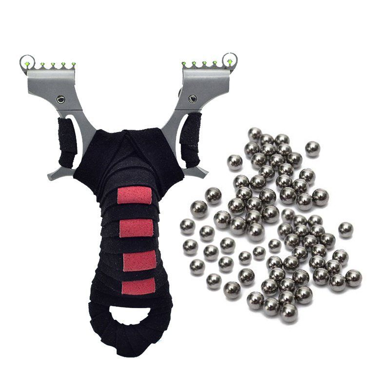 Adaptable Powerful Hunting Catapult 304 Stainless Steel Pocket Catapult Kit Flat Leather Slingshot Elastic Plate With 100pcs Balls