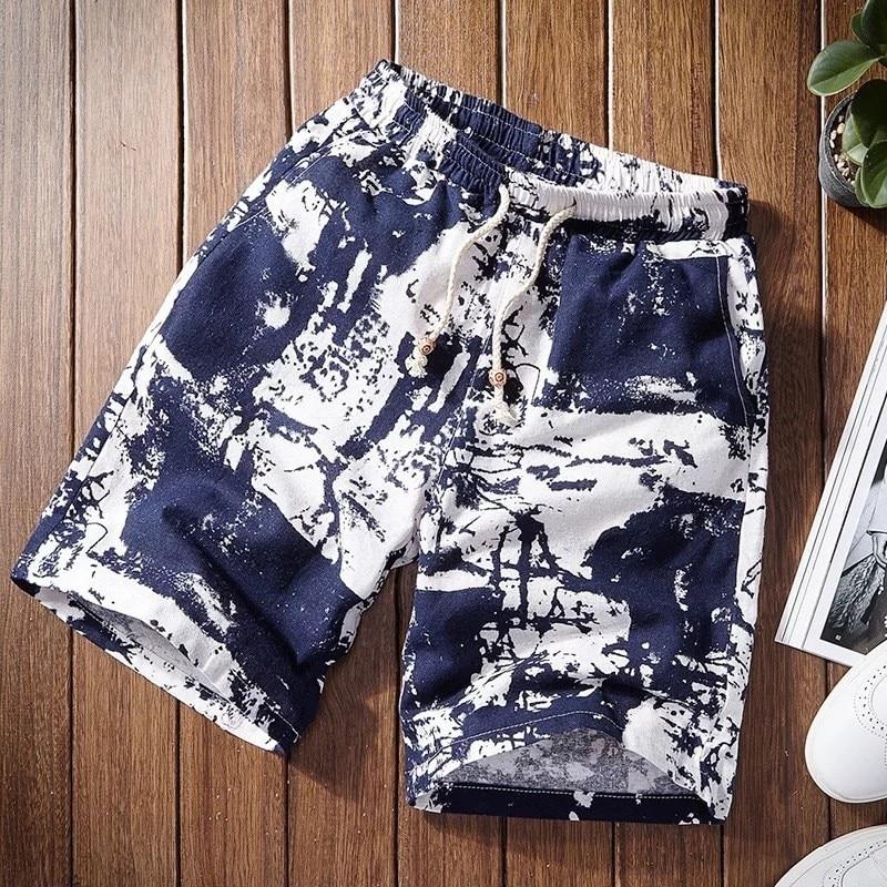 2019 Beach Shorts Casual Shorts Men Drawstring Printed Male Streetwear Mens Shorts Summer Men Shorts Cotton Linen Beach Fashion
