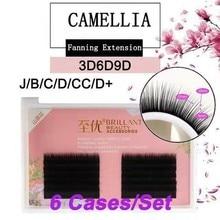 BRILLANT 6 Cases Camellia Hybrid Volume Mega Grafting Flower False Eyelashes Extension 0.05/0.07 Soft Thick B/C/D/CC/D+ Handmade