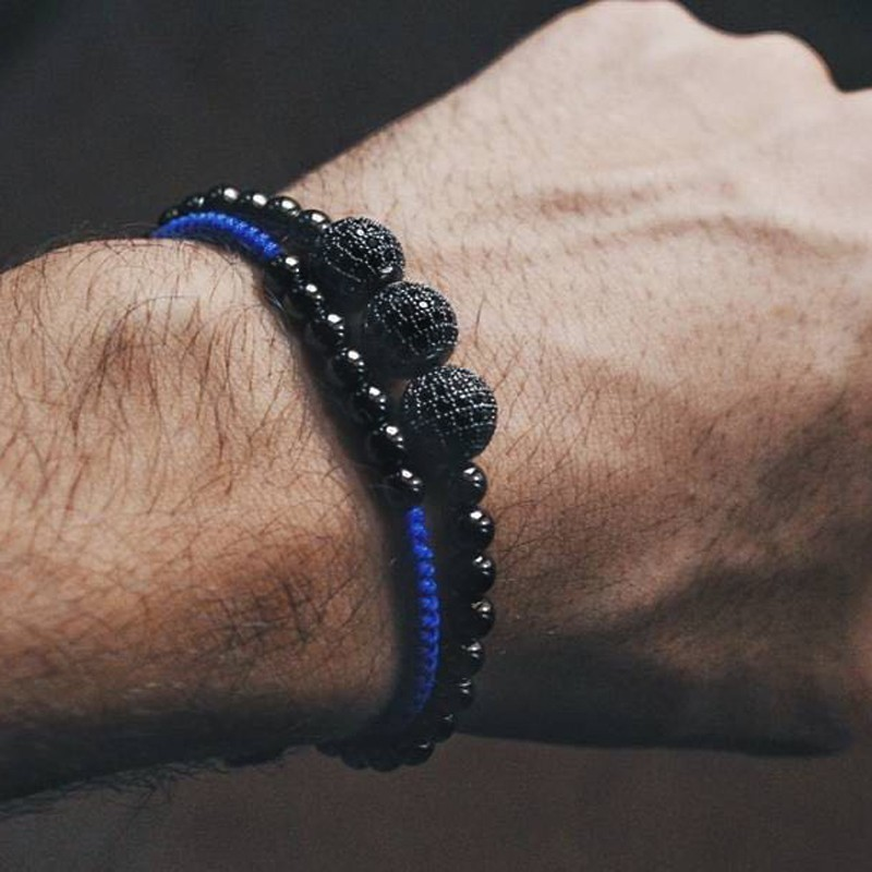 Fashion Classic Charm Men Bracelet 2019 2pcs/set Simple Adjustable Weave Disco Ball Strand Beads Bracelet For Men Jewelry Gift