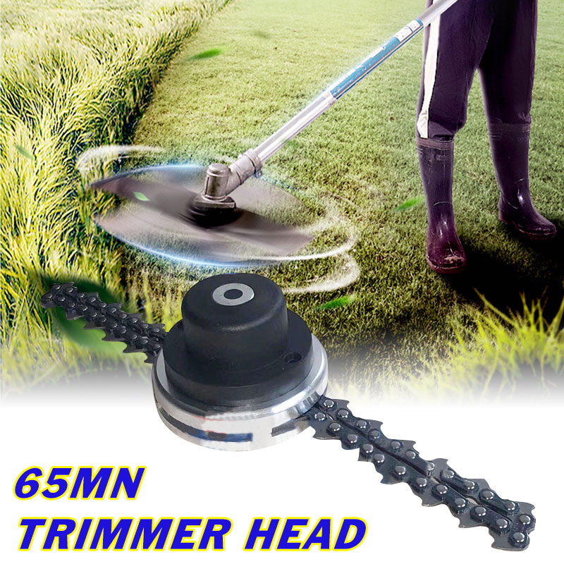 Upgraded Chain Trimmer Head Grass Trimmer Head For Garden Brushcutter Lawn Mower Replacement Parts 65Mn Coil Chain M10x1.25LH