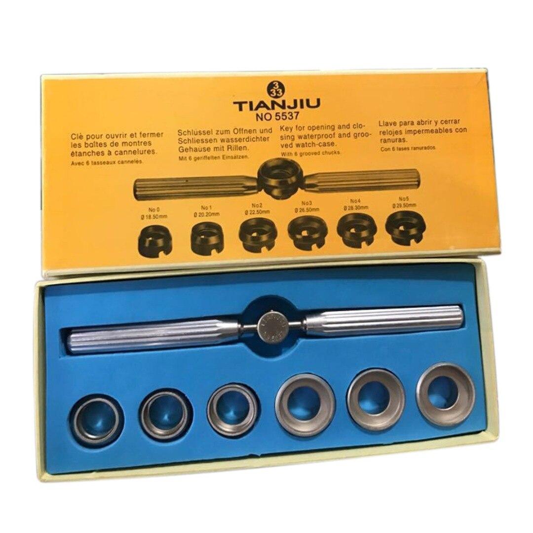 Нет. 5537 Открыватель корпуса часов с шестью штампами, водонепроницаемый Съемник задней крышки часов, винтовой ключ для ROLEX/TUDOR, инструмент для...