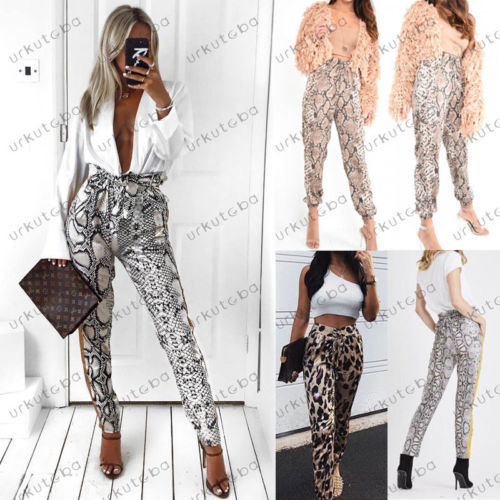 HIRIGIN Newest Women Leopard Pants Slim Fashion High Waist Long Pants