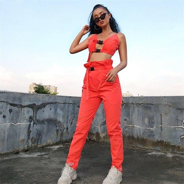 2 pièces femmes Cami Cool soutien-gorge bouton évider hauts sans manches ceinture poches Cargo pantalons longs Hip Hop ensemble 2