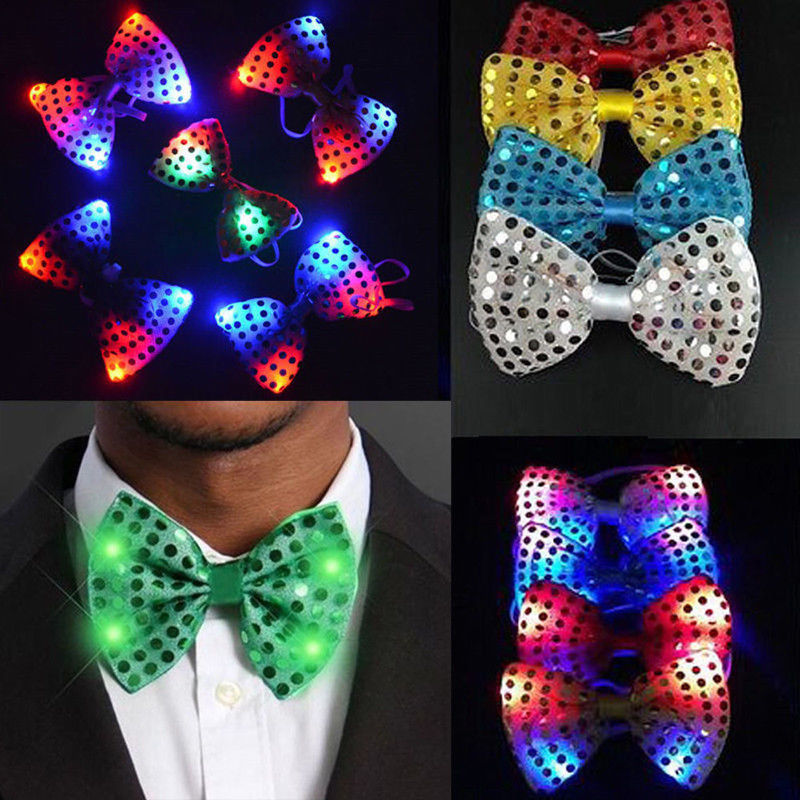 Children Led Flashing Sequin Bow Tie Neckwear Unisex Light Up Bowtie For Boys Girls Fancy Dress Costume Party Decoration Boys Costume Accessories