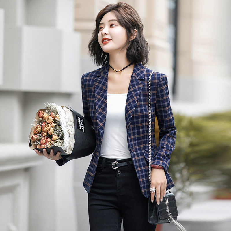 PEONFLY Classic Plaid Single Button Women Jacket Blazer Casual Notched Collar Slim Female Suits Coat Fashion
