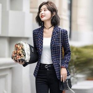 Image 5 - PEONFLY Classic Plaid Single Button Women Jacket Blazer Casual Notched Collar Slim Female Suits Coat Fashion Blazer Femme
