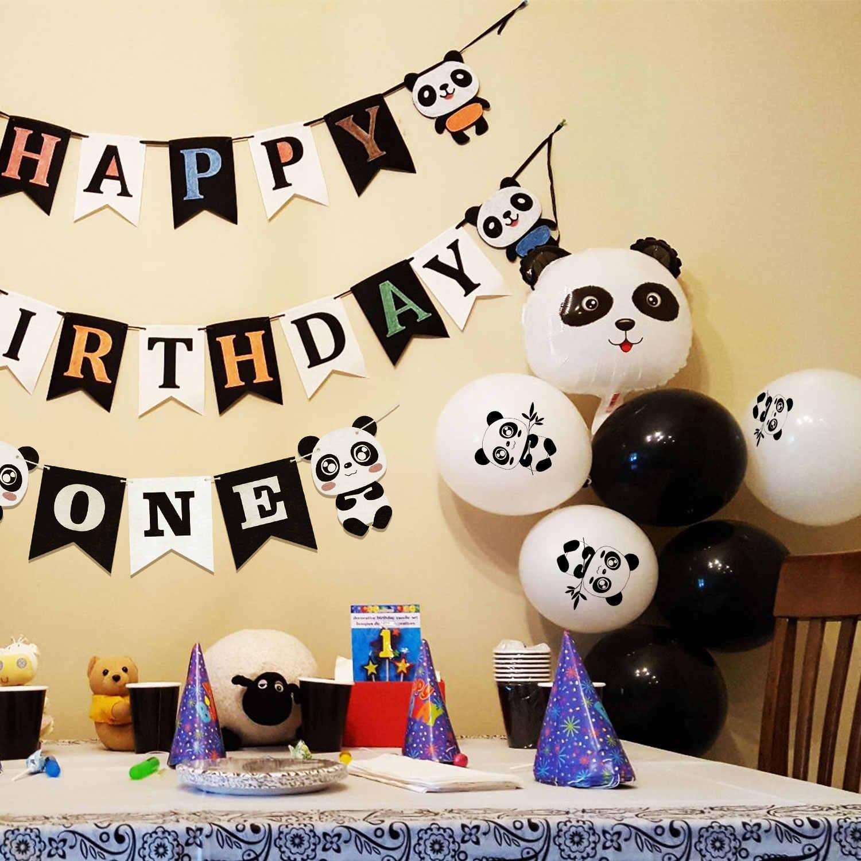 ... ZLJQ Panda Party Supplies Mylar Balloons Happy Birthday ONE Banner For  Panda Bear Birthday Party Baby ...