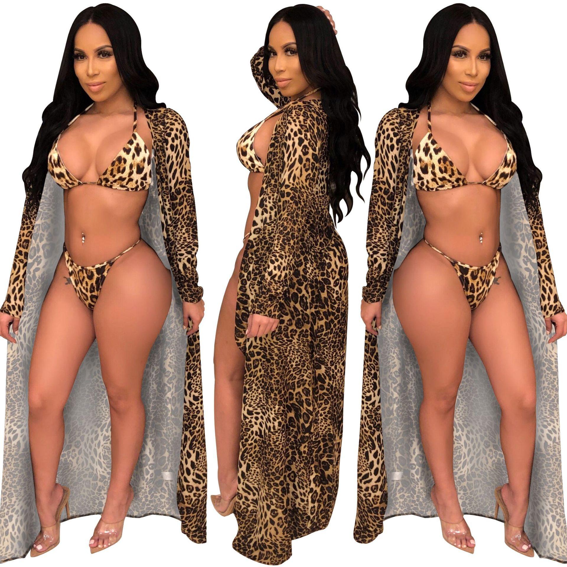 Femmes été plage costumes licou soutien-gorge haut + Shorts + Long Cardigan ouvert avant imprimé léopard deux pièces robes tenues de plage
