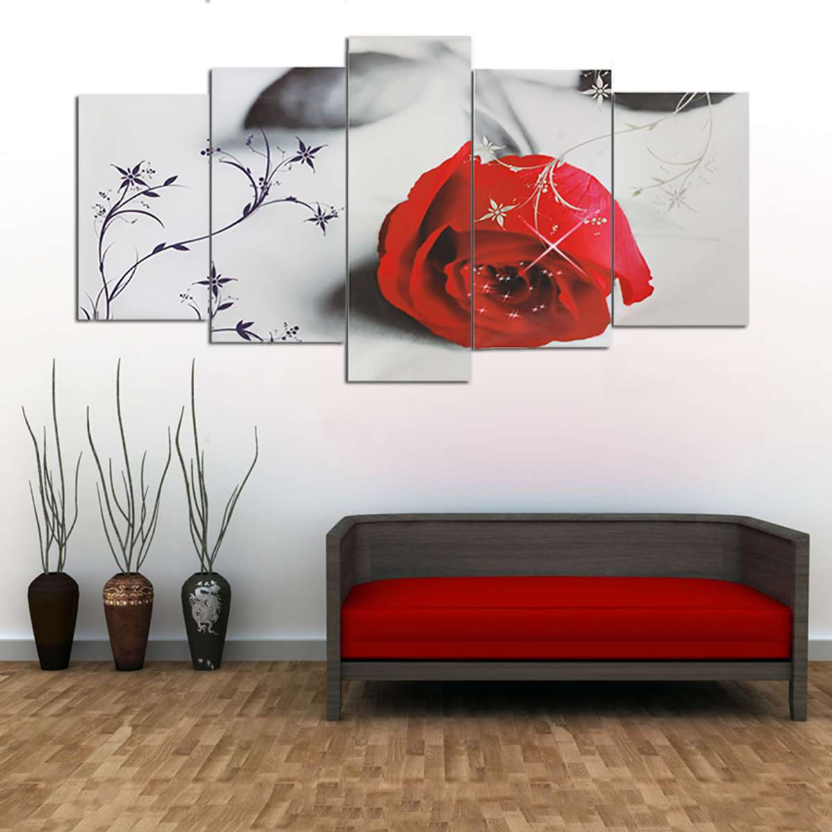 5 Pcs Canvas Paintings Wall Art HD Prints Home Decor No-Frame Beautiful Red Rose Posters For Living Room Flowers Pictures