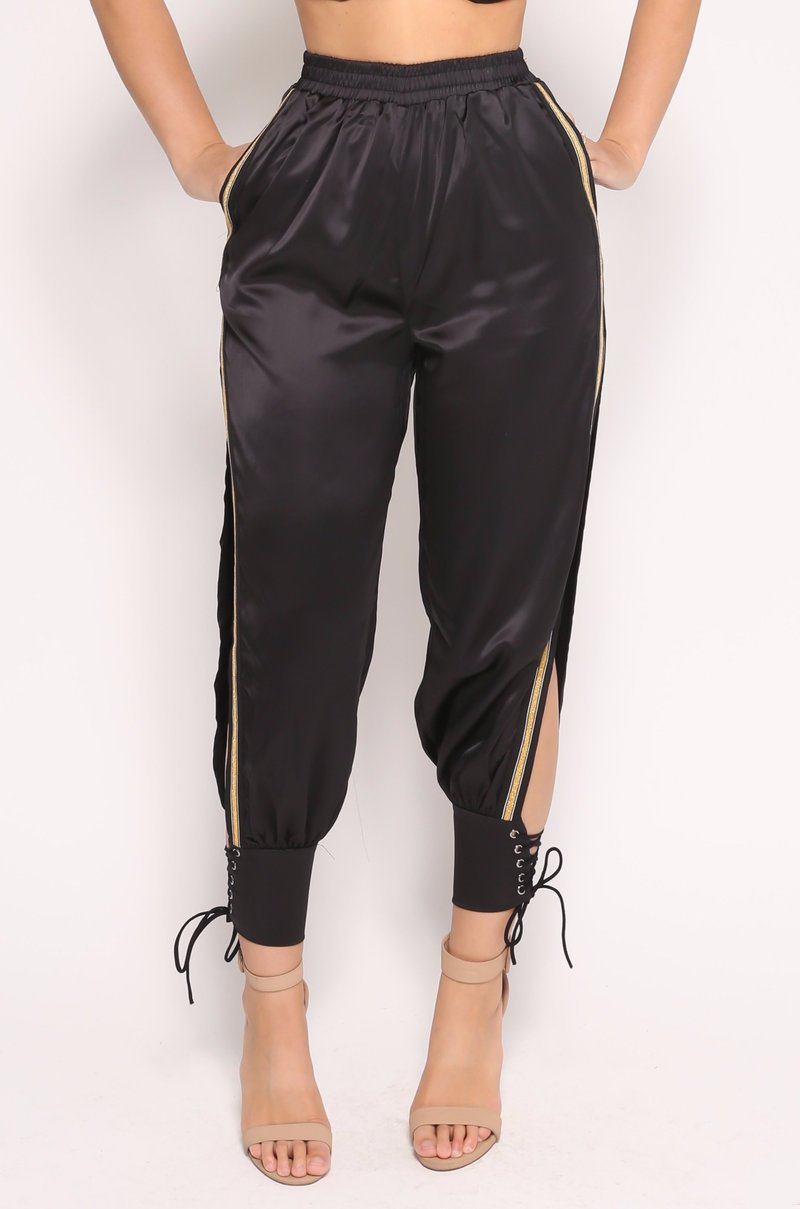 Harem   pants     capri   High split loose casual   pants   women Sexy gold edge summer trousers   Pants  ' feet Bandages Women   pants   2019