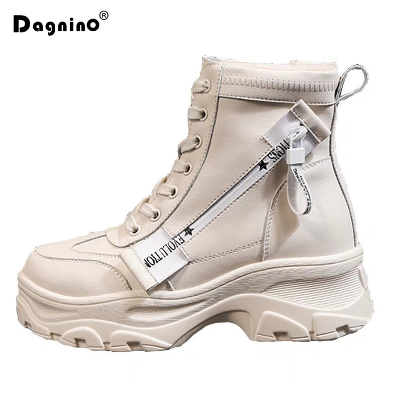 Women Thick Bottom Snow Boots 2019 Lace Up Martin Boots Female Ankle Military Zipper Brand Winter Warm Platform Wedge Heel Shoes