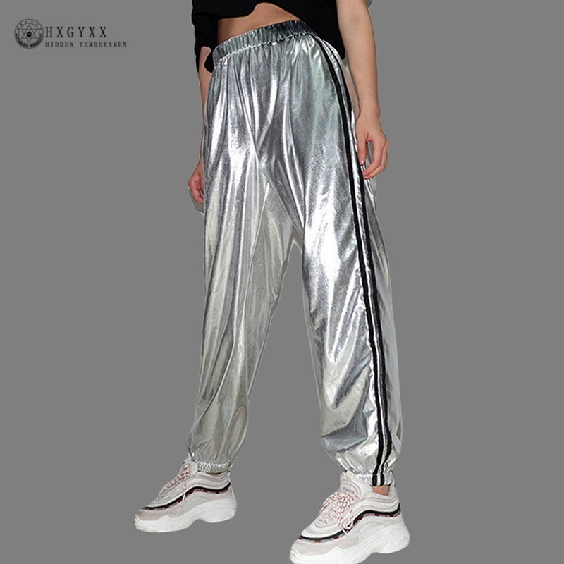 2019 Striped Casual Sweatpants Silver Dancing Women   Pants   High Waist Fashion Hip Hop Trousers Female Loose   Pants     Capri   Okd786