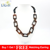 LiiJi Unique Natural Brown Agates circle&Gold freshwater pearl&Black jades Fashion Necklace 24inches