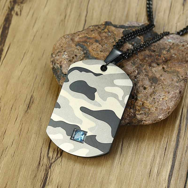 Stainless Steel Blue CZ Accent Usa Camo Dog Tag Pendant Necklace for Men Abstract Soldier Military Fancy Camouflage Jewelry 24IN
