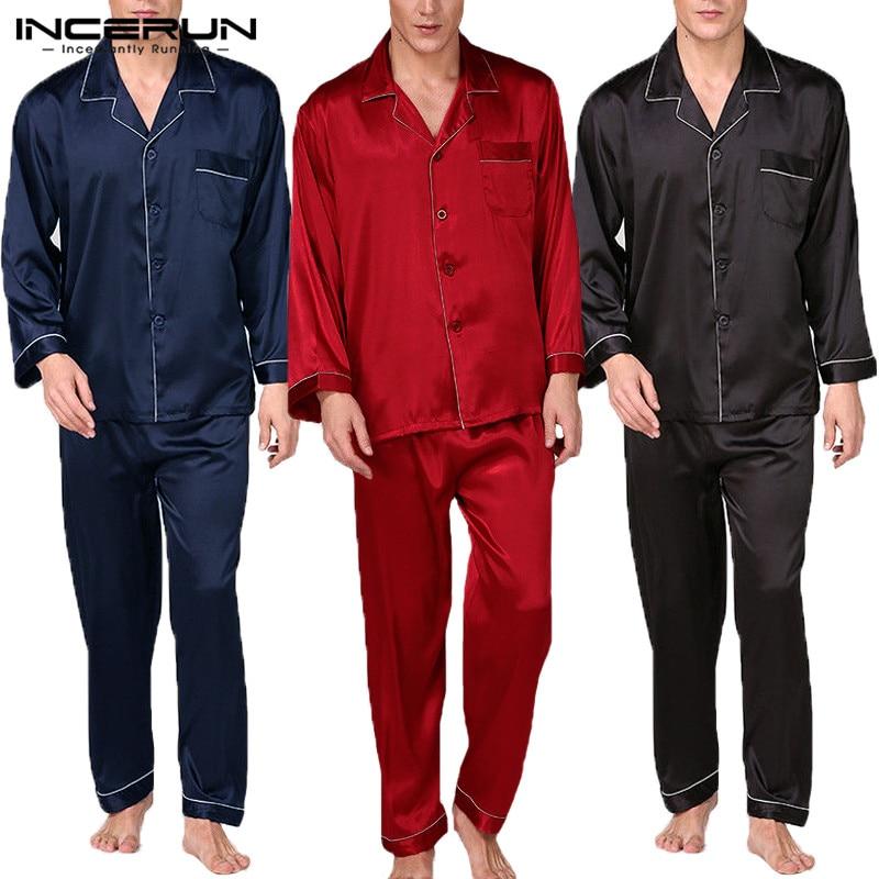 INCERUN Men Satin Silk Pajamas Set Soft Modern Style Full Sleeve Pants Sexy Brand Silk Pajamas Set Men Sleepwear Nightgown 2019