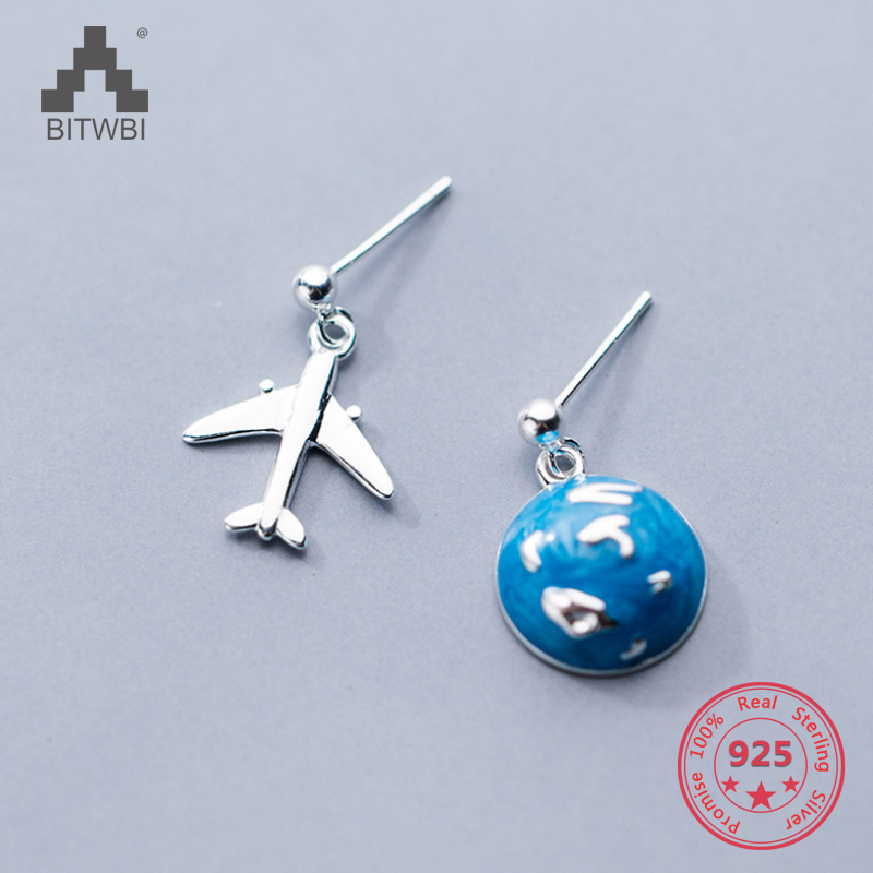 Pure 925 Sterling Silver Earring New Design Creative Concise Asymmetry Earth Airplane Stud Earring Fine Jewelry image