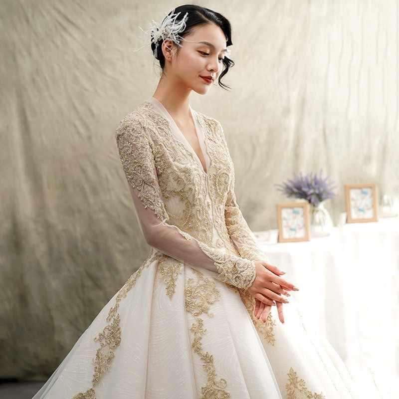 Роскошное платье с длинным рукавом свадебное платье 2019 золотистые кружевные аппликации свадебное платье Sexy V образным вырезом открытым Длинные свадебные платья с королевским шлейфом