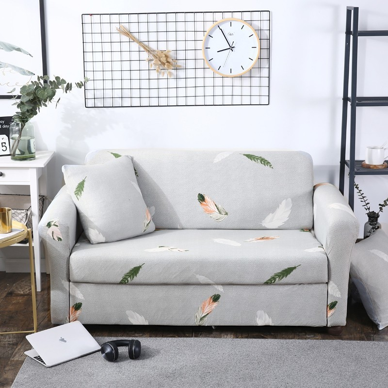 Light Grey Sofa Slipcover: Feather Printed Light Gray Sofa Cover All Inclusive Couch