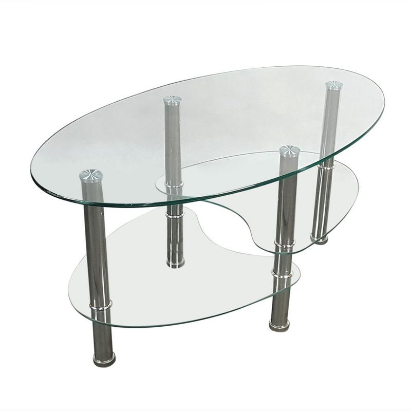 Dual Fishtail Style Tempered Glass Coffee Table Transparent In End