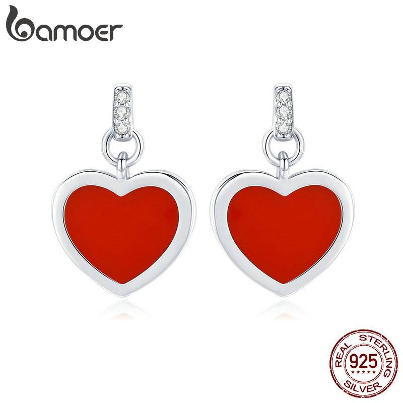 cf61cee5d BAMOER عيد الحب 100 ٪ 925 فضة الحب القلب والأحمر المينا وأقراط للنساء أقراط  مجوهرات فاخرة