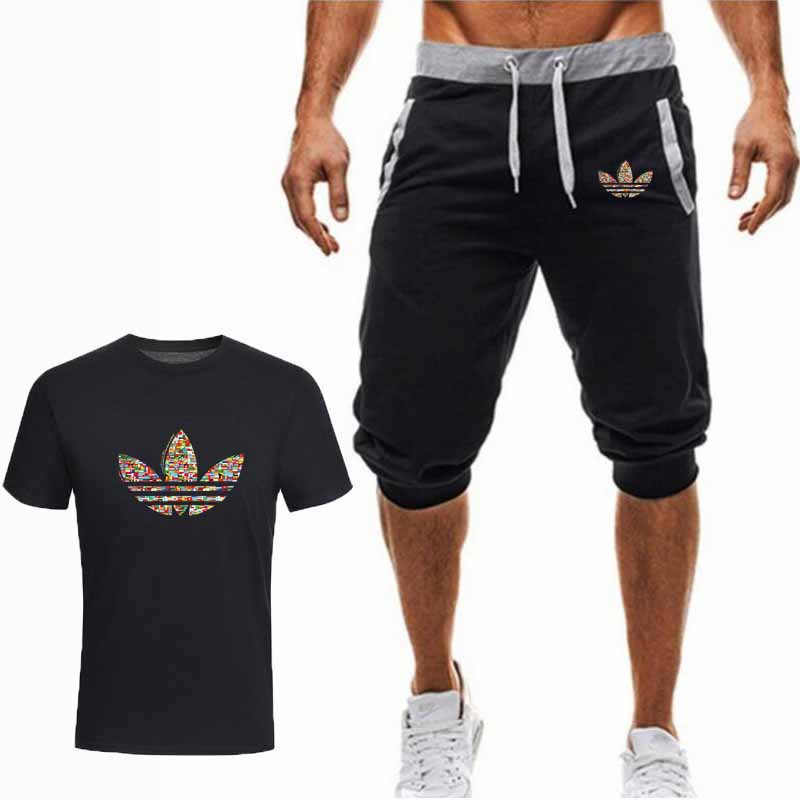summer-hot-sale-men's-sets-t-shirts-cropped-trousers-two-pieces-sets-casual-tracksuit-new-male-casual-tshirt-gyms-fitness-men