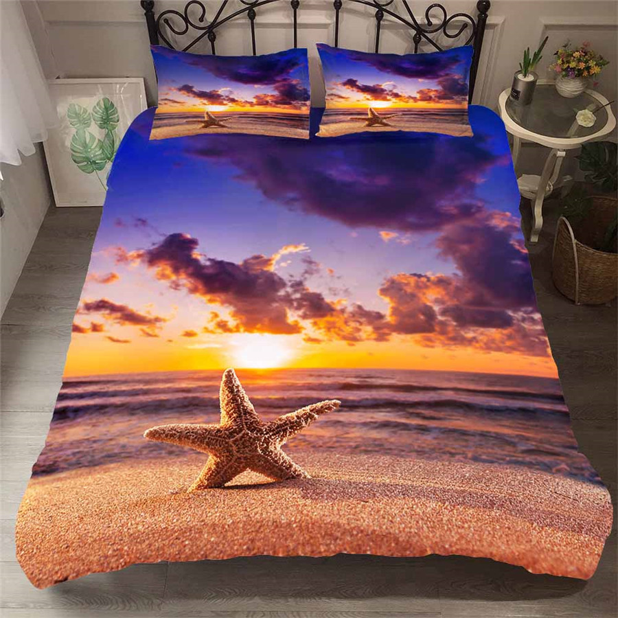 Bedding Set 3D Printed Duvet Cover Bed Set Beach Starfish Home Textiles For Adults Bedclothes With Pillowcase HL34