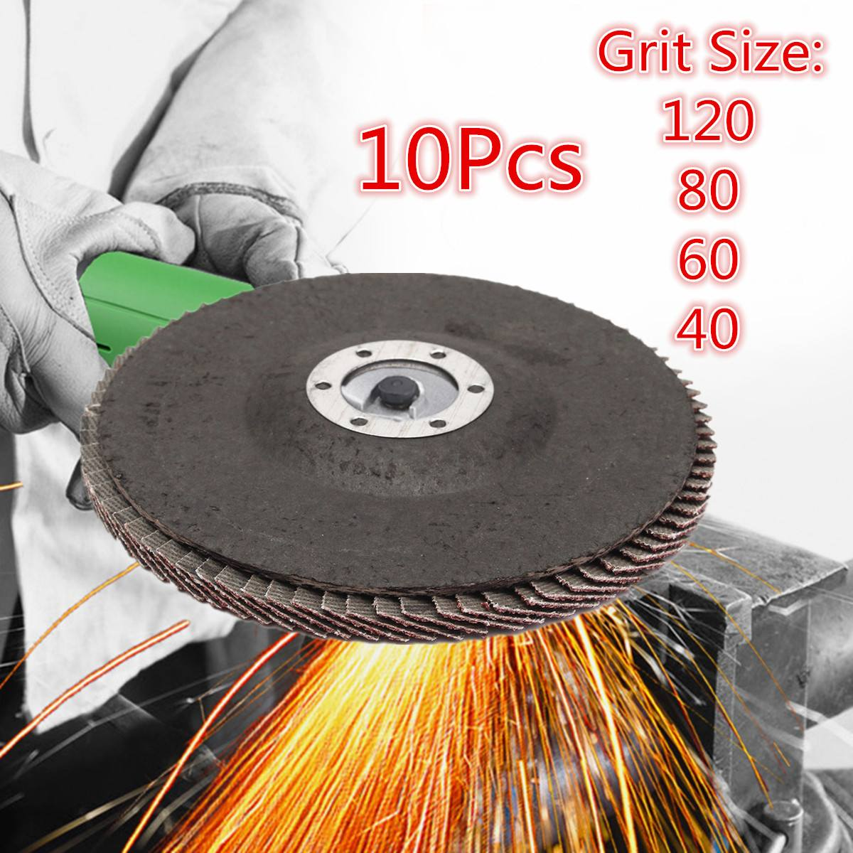 10PCS/set  Grit Aluminum Oxide Flap Disc 5
